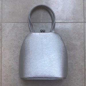 Handbags - Metallic silver evening bag cocktail party purse👛